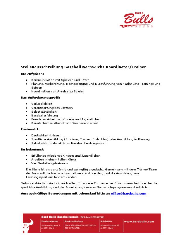 BASEBALL NACHWUCHS KOORDINATOR/TRAINER - Bundessportakademie