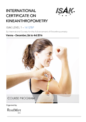 Folder zu INTERNATIONAL CERTIFICATE ON KINEANTHROPOMETRY mit terminen und Informationen